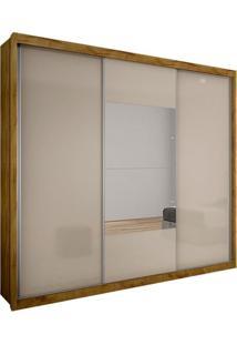 Guarda-Roupa Casal Com Espelho Trento Gold 3 Pt 3 Gv Freijó Dourado E Off White