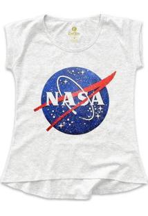 Camiseta T-Shirt Geek Cool Tees Nasa Vintage Feminina - Feminino-Mescla Claro