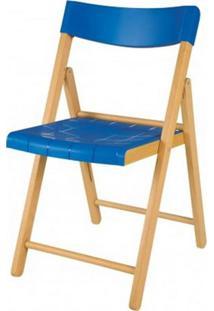 Cadeira Potenza Dobravel Natural Com Plastico Azul - 20645 Sun House