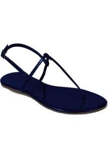 Rasteira Mercedita Shoes Verniz Lisa Feminina - Feminino-Azul Petróleo