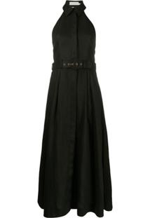 Zimmermann Vestido Bonita De Linho Com Cinto - Preto