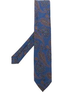 Etro Gravata Bordada Paisley - Azul