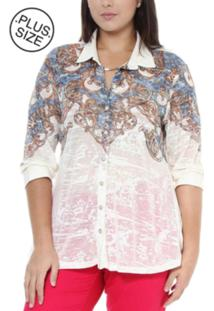 Camisa Ênfase Plus Print Arabesco Branco