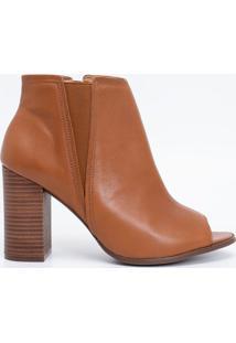 Sapato Feminino Em Couro Salto Bloco Satinato
