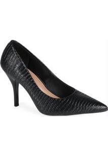 Sapato Scarpin Feminino Conforto Lezard Preto