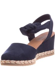 Anabela Any Butique De Sapatos Azul Em Suede Amarração
