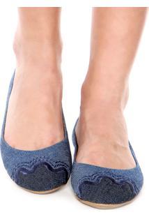 Sapatilha Dafiti Shoes Bordado Azul