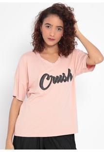 """Blusa """"Crush"""" Com Vazados- Rosa Claro & Prateada- Mamalwee"""