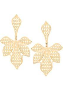 Brinco Formato De Folhas Vazadas Rommanel - Feminino-Dourado