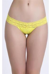 Calcinha Tanga Recco De Renda - Feminino-Amarelo