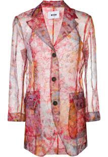 Msgm Jaqueta Com Estampa Floral - Rosa