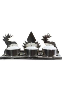 Castiçal Natal Lola Home 3 Velas Metalizada Prata