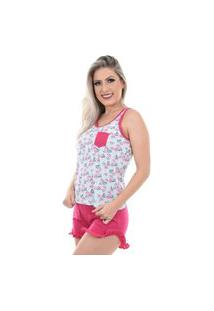 Pijama Baby Doll Regata Shorts Doll Confortável Feminino Rosa