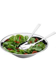 Conjunto Para Salada 3 Peças: Saladeira De Aço Inox 30Cm + Garfo + .