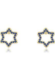 Brinco De Estrela Vazado Todo Cravejado Com Micro Zircônias Azuis Em Banho De Ouro 18K