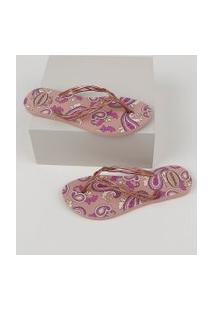 Chinelo Feminino Havaianas Flash Sweet Royal Estampado Paisley Rosê