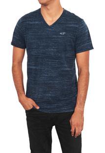 Camiseta Manga Curta Hollister Básica Azul Marinho