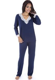 Pijama Longo Inspirate Com Gola V Rendada Marinho