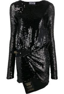 Versace Jeans Couture Vestido Com Bordado De Paetês - Preto