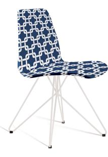 Cadeira Eames Com Base Butterfly Azul E Branca Daf