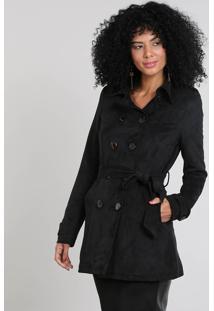 Casaco Trench Coat Feminino Com Bolsos & Cinto Preto