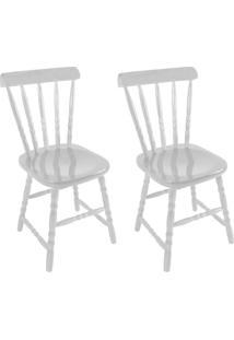Conjunto Com 2 Cadeiras Dalas Branco Fosco