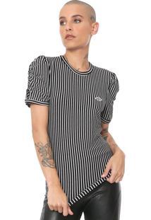 Camiseta Triton Canelada Listras Preta/Branca