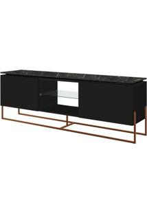 Rack Dock 1,36 Mt (Larg) Cor Marquina Com Preto Base Cobre - 58063 - Sun House
