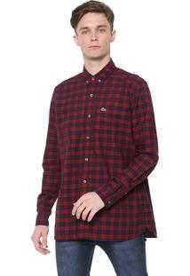 Camisa Lacoste Regular Xadrez Vermelha/Azul-Marinho