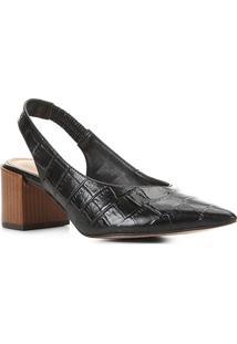 Scarpin Couro Shoestock Slingback Salto Médio Croco - Feminino-Preto
