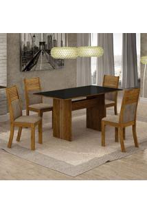 Conjunto De Mesa De Jantar Florença Com 4 Cadeiras Havaí Suede E Cappuccino