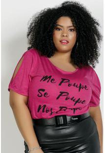 Blusa Pink Com Ombros Vazados Plus Size