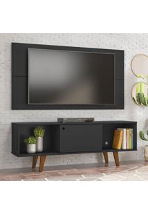 Rack Com Painel Para Tv Atã© 42 Polegadas Salah Preto 135 Cm