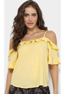 Blusa Royallove Open Shoulder Babado Feminina - Feminino-Amarelo