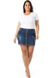 Shorts Saia Jeans Com Abotoamento Plus Size Confidencial Extra Feminino - Feminino-Azul