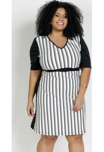 Vestido Curto Listrado E Preto Plus Size