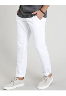 Calça Slim Masculina Com Bolsos E Cordão De Amarração Branca