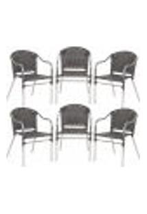 Cadeiras 6Un Para Area Varanda Fibra Sintetica Sala Cozinha Jardim Sacada Floripa - Pedra Ferro