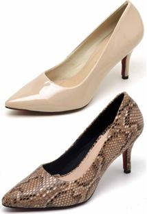 Kit 2 Pares Scarpin Casual Bellatrix Nude E Marrom