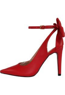 Scarpin Salto Alto Week Shoes Laço Traseiro Vermelho