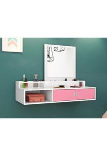 Penteadeira Suspensa Com Espelho Jasmim Branco/Rosa – Lc Móveis