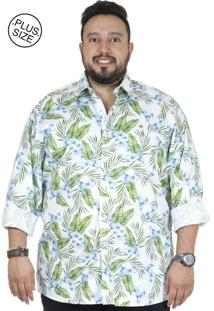 Camisa Plus Size Bigshirts Manga Longa Estamp Lirio