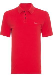 Polo Masculina Ckj Mc Calvin Bordado - Vermelho