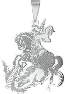 Pingente São Jorge Em Prata 925 Simples - Unissex-Prata