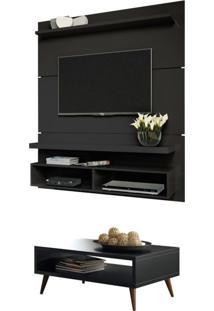 Painel Tv Life 1.3 Com Mesa De Centro Lucy Preto - Hb Móveis