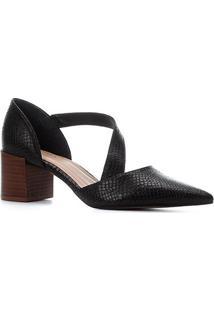 Scarpin Couro Shoestock Bico Fino Cobra Salto Bloco - Feminino-Preto