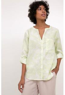Camisa Estampada Com Folhagens E Bolso Frontal