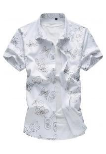 Camisa Masculina Estampa Riscada - Branco