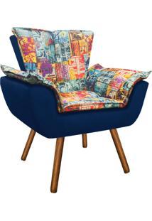 Poltrona Decorativa Opala Suede Composê Estampado Street D05 E Azul Marinho - D'Rossi