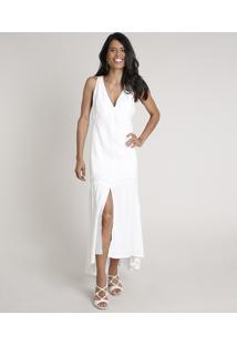 Vestido Feminino Longo Mullet Com Fenda Sem Manga Off White